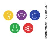 set of icons of the five human... | Shutterstock .eps vector #727186237