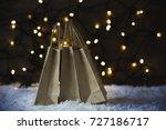 christmas shopping bag  snow ... | Shutterstock . vector #727186717