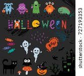 cute halloween background.... | Shutterstock .eps vector #727193353