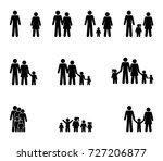family set of pictograms ... | Shutterstock . vector #727206877