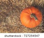 fall pumpkin with hay... | Shutterstock . vector #727254547