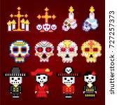 dia de los muertos. day of the... | Shutterstock .eps vector #727257373