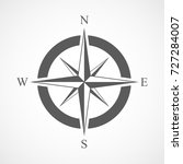compass icon in flat design.... | Shutterstock .eps vector #727284007