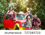 group trip of young asian... | Shutterstock . vector #727285723