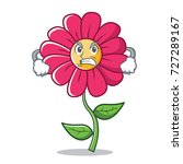 angry pink flower character...   Shutterstock .eps vector #727289167