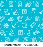 household and cleaning tools... | Shutterstock .eps vector #727300987
