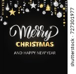 merry christmas card with hand... | Shutterstock .eps vector #727301977