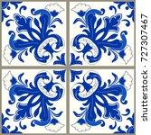 majolica pottery tile  blue and ... | Shutterstock .eps vector #727307467