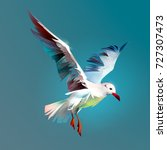 drawn flying bird seagull.... | Shutterstock . vector #727307473