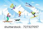 winter vacation ski resort... | Shutterstock .eps vector #727327057