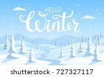 winter snow landscape background with pine trees | Shutterstock vector #727327117