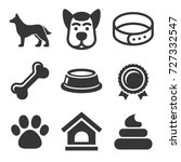 Stock vector dog icons set on white background vector 727332547