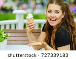 happy funny young woman with... | Shutterstock . vector #727339183