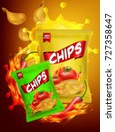 nice and creative chips packing ... | Shutterstock .eps vector #727358647