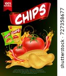 nice and creative chips packing ... | Shutterstock .eps vector #727358677