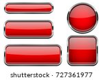 Red Buttons Set. Glass Icons...