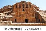 petra with blue sky in jordan | Shutterstock . vector #727363057