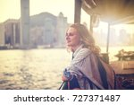 girl tourist on background of a ... | Shutterstock . vector #727371487