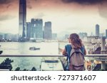 tourist woman on background of... | Shutterstock . vector #727371607