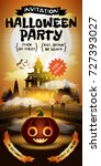 halloween invitation with free...   Shutterstock .eps vector #727393027