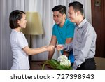 vietnamese young people giving... | Shutterstock . vector #727398943
