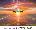 passengers airplane landing to... | Shutterstock . vector #727412443