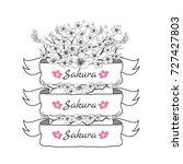 flower ribbon of sakura.... | Shutterstock .eps vector #727427803