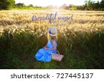 girl in a dress with a basket... | Shutterstock . vector #727445137
