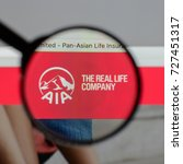Small photo of Milan, Italy - August 10, 2017: AIA website homepage. It is the largest independent public listed pan-Asian life insurance group. AIA logo visible.