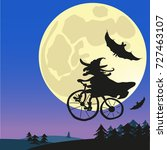 old witch flying on a bicycle... | Shutterstock .eps vector #727463107