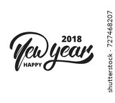 new year 2018. hand drawn logo... | Shutterstock .eps vector #727468207