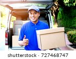 parcel  delivery man happy hand ... | Shutterstock . vector #727468747