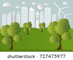 paper art of city with trees... | Shutterstock .eps vector #727475977