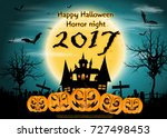 happy halloween horror night ... | Shutterstock .eps vector #727498453