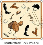 horse riding tack gear in... | Shutterstock .eps vector #727498573
