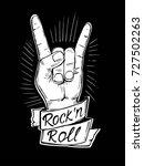 rock n rolll poster with skull  ... | Shutterstock .eps vector #727502263