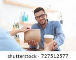 waitress giving coffee to go... | Shutterstock . vector #727512577