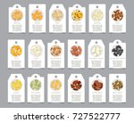 seeds of seasonings on paper... | Shutterstock .eps vector #727522777