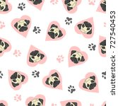 seamless pattern with cute pugs ... | Shutterstock .eps vector #727540453