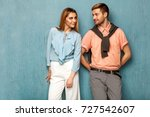 fashion girl and guy in outlet... | Shutterstock . vector #727542607