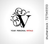 capital letter v . decorated... | Shutterstock .eps vector #727545553