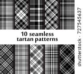 set of 10 seamless tartan... | Shutterstock .eps vector #727545637