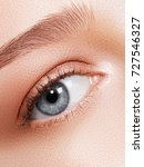 beautiful female eye with clean ... | Shutterstock . vector #727546327