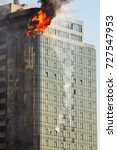 Small photo of fire in a high-rise building.Odessa,Gagarin plato, august 29, 2015