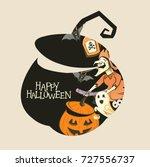 halloween pumpkin silhouette... | Shutterstock .eps vector #727556737