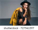 fashion brunette model in nice... | Shutterstock . vector #727561597