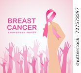 breast cancer awareness with...   Shutterstock .eps vector #727573297