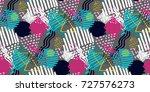 memphis seamless  pattern in... | Shutterstock .eps vector #727576273