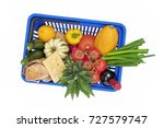 top view on shopping basket... | Shutterstock . vector #727579747