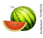 ripe striped watermelon... | Shutterstock .eps vector #727582753